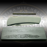 "Christian DeCamillis knife engraving kit including a high speed steel graver, 3.5"" stainless steel knife, and casting that includes a pattern transfer and study impression. Intermediate pattern is more complex than the Basic pattern. Available exclusively at Engraver.com"