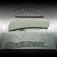 "Christian DeCamillis knife engraving kit including a high speed steel graver, 3.5"" stainless steel knife, and casting that includes a pattern transfer and study impression. Advanced kit is the most challenging pattern available in this series. Available exclusively at Engraver.com"