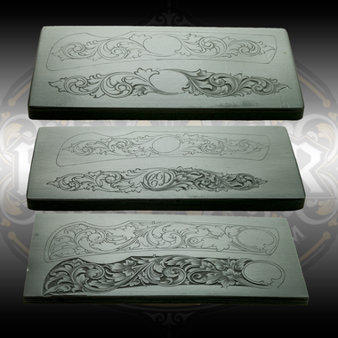 """DeCamillis Knife Casting Combo set - castings from all three of Christian DeCamillis's knife engraving kits. Designed to engrave a 3.5"""" knife available through Engraver.com."""