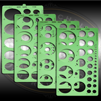 Set of 4 templates of ellipses (45, 50, 55 and 60 degrees) for designing scrollwork