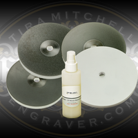 Deluxe Sharpening Set from Engraver.com. Includes 3 5-inch wheels (260, 600 and 1200 grits), a 6 inch ceramic wheel and a bottle of diamond dust spray.