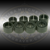 Nylon Collets for the Orbital Ring Engraving fixture from Syenset or the RinGenie. Sizes 5-12. Each collet expands up to one ring size.