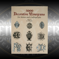 5000 Decorative Monograms for Artists and Craftspeople edited by J. O'Kane has 130 pages of 2-letter monograms in alphabetic order for jewelry, custom engraving, and other art. No copyright fees or royalties for using this art.