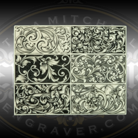 Liberty Scroll Design Study Plate by Lee Griffiths. This resin casting by award winning Master Engraver Lee Griffiths is a study guide for various scroll designs including the Liberty Scroll Design featured in the upper left corner.