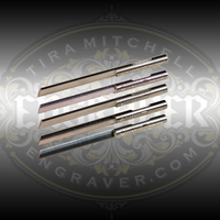 Glardon® Vallorbe Carbide Gravers (Onglettes) ground to exact angles for precision engraving and stone setting.  Featuring an indexing notch for fast and easy sharpening & shaping, these long lasting carbon steel gravers will save time and money.  Fits all EnSet collets and any other machine that accepts 1/8 inch graver shanks.