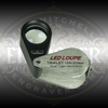 Engravable Stainless Steel 10x Triplet Loupe with UV and White LED lights from Engraver.com.
