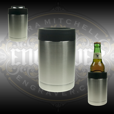 Engravable 18-8 double walled stainless steel vacuum cup/bottle holder is a practical item that can be beautifully engraved available at Engraver.com