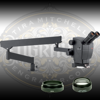 Special Leica A60-F Hand Engraving and Stone Setting Package including the A60 Microscope Head, Flex Arm Stand, LED Ring Light, Objective Lens of your choice and a Lens Adapter.  All Genuine Leica products from Engraver.com.