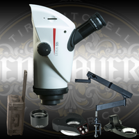 Engraver.com Leica S9i Trinocular Microscope with Integrated Camera with 10x Eye Pieces, 0.63 Objective Lens, Flex Arm Stand, Bonder Arm and LED Light (all genuine Leica parts). Also  includes custom Hard Sided Travel Case custom fit for the S9i and optical accessories.