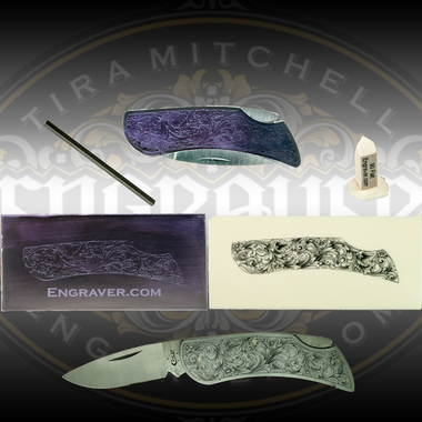 Engraver.com Case Knife Engraving Kit 1 including the knife with a Tira Mitchell Scroll Design applied, graver, graver tip model, practice plate (with design) and study casting (shown inked).  Shown with an actual engraved knife (not included)