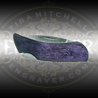Case Knife with Tira Mitchell Scroll Pattern applied for engraving from Engraver.com