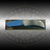 Engraver.com Knife Mounting Block - 6 Inch - Shown with Case Executive Folding Knife mounted, masked and ready to engrave
