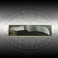 Engraver.com Knife Mounting Block - 6 Inch - Shown with Case Executive Folding Knife
