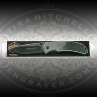 Engraver.com Knife Mounting Block - 8 inch - shown with Boker Magnum knife