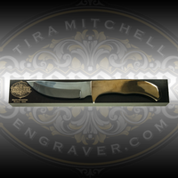 Engraver.com Knife Mounting Block - 10 inch - Shown with Stainless Steel 4 inch Fixed Blade Knife with Engravable Brass Handle