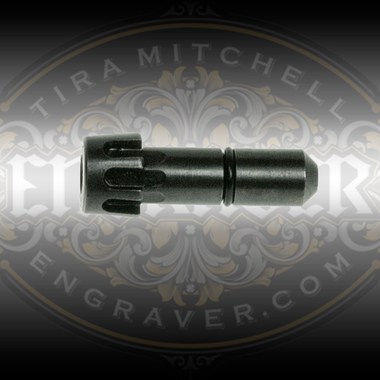 Universal Collet, 1/8 inch bore, for the PulseGraver™ at Engraver.com.  5 Easy index slots to fit gravers of any shape and right or left handed people. Designed for the PulseGraver™ and fits other engraving tools with a 1/4 inch sleeve and a tab to prevent rotation.
