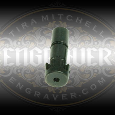Universal Collet, 1/16 inch bore, for the PulseGraver™ at Engraver.com.  5 Easy index slots to fit gravers of any shape and right or left handed people. Designed for the PulseGraver™ and fits other engraving tools with a 1/4 inch sleeve and a tab to prevent rotation.