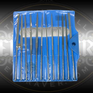 Glardon® Vallorbe Set of 12 Needle Files, 160mm, Cut 0. For jewelers, engravers, gunsmiths and other artists who require quality hand files. From Engraver.com