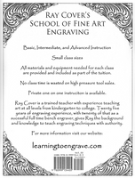 Back cover of Ray Cover's Basic Scroll Manual with a description of his School of Fine Art Engraving