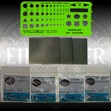 Star Setting Techniques Practice Kit.  Includes template, 3 brass plates and 100 stones
