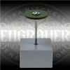 Green CeraGloss Rubber Diamond Wheel for shaping gravers.  Shown on package stand.