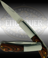 Attractive stainless steel folding knife with wood scales and 3.5 inch stainless steel bolster