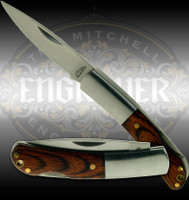 Engravable stainless steel folding knife with wood bolsters - 2.5 inches closed