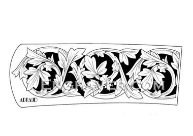 Low resolution watermarked image of a hand engraving design by Arnaud for a folding knife with wood scales