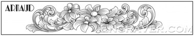 Low resolution watermarked image of Arnaud's design for a bracelet with flowers and scrolls