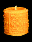 Ornate Cylinder Beeswax Candle - 2 inch x 9 oz.