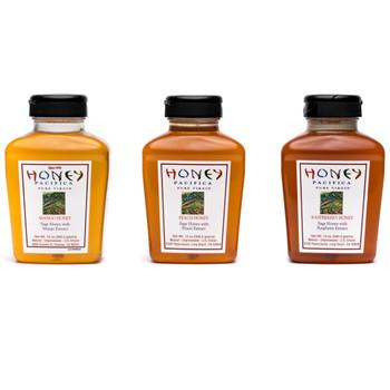 Mango Honey, Peach Honey, Raspberry Honey Pack.