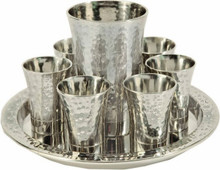 EM-GSA1 Nickel Kiddush Set - Cup + 6 Cups + Tray - Hammer work- Silver