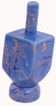 Ceramic Karshi Dreidel + Stand  - Jerusalem Blue (DR-5946)
