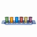 EM-GS6A Set of 6 Anodized Aluminum Cups with Tray- Multicolor