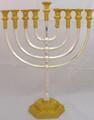 """Mikdash 16"""" Silver & Gold Oil Menorah (M-216-SG)"""