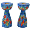 Blue Branches and Pomegranates New Shape Medium Candlesticks