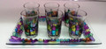 Glass Set 6 Cups & Tray Colored Jerusalem Design (5837)