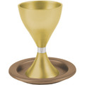 Anodized Aluminum Kiddush Cup and Plate Gold (EM-CM3)