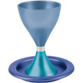 Anodized Aluminum Kiddush Cup and Plate Shades of Blue (EM-CM5)
