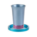 Anodized Aluminum Kiddush Cup and Saucer Blue / Maroon (EM-GM2)