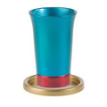 Anodized Aluminum Kiddush Cup and Saucer Turquoise/Red/Gold  (EM-GM4)