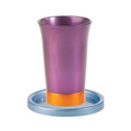 Anodized Aluminum Kiddush Cup and Saucer Purple/Gold (EM-GM6)