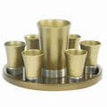 Anodized Aluminum Kiddush Set with Tray Gold (EM-GSS2)