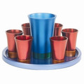 Anodized Aluminum Kiddush Set with Tray Maroon/ Blue (EM-GSS4)