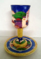 Karshi Ceramic Kiddush Goblet with Tray Jerusalem Design (KC-5900)