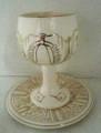 Porcelain Kiddush Goblet with Tray -Jerusalem (KC-5963)