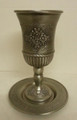 Pewter Kiddush Cup & Tray Flowers Design (KC-AVI100P)