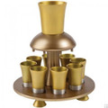 Anodized Aluminum Kiddush Fountain + Goblet + 8 Cups Gold (EM-FNM3)