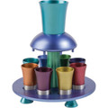 Anodized Aluminum Kiddush Fountain + Goblet + 8 Cups Multicolor (EM-FNM4)