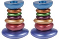 Anodized Aluminum Shabbat Candlestick - Stone Tower Multicolor (EM-CSG2)
